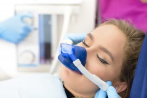 woman receiving nitrous oxide treatment